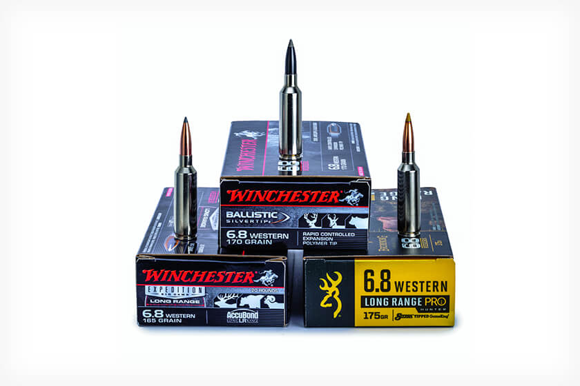 <p>Winchester's and Browning's 6.8 Western cartridge can deliver big game from long range for open-­country hunters.</p>