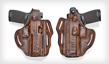 The Blackhawk 3-Slot Leather Pancake Holster is a proven belt-worn rig that's now available in a handsome Antique Brown.