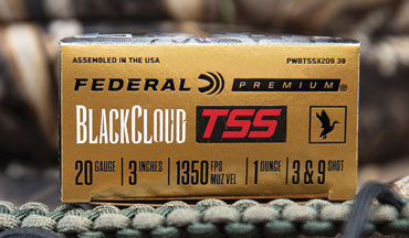 Federal Black Cloud TSS is now offered in a new 20-gauge load that blends No. 3 FLITESTOPPER Steel with No. 9 18 g/cc Tungsten Super Shot. Shipments of this new product have begun to arrive at dealers.