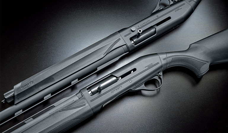 The 12ga Affinity 3.5, chambered for 2-, 3-, and 3 1/2-inch shells and the Affinity 3 is offered in 12 or 20ga, both with 2- and 3-inch chambers