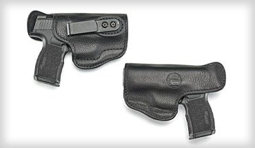 The 1791 Gunleather Ultra Custom IWB holster features Memory-Lok moldable technology within soft cowhide. The holster is attached to a belt with a cant-adjustable belt clip. At the back, a tall sweatguard shields the back of the slide. Friction-fit retention is excellent and provides a soft, tactile, non-audible click when the pistol is fully seated.
