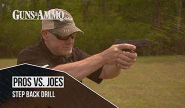 "You have to have solid fundamentals to be a good pistol shooter, and their importance is clear when we watch the Step Back drill in Guns & Ammo TV's ""Pros vs. Joes."" Professional shooter and law enforcement officer Chris Cerino walks G&A TV cameraman Ben LaLonde through the drill and learns the benefits of training and experience."