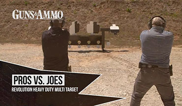For this challenge, Guns & Ammo TV cameraman Christian Hoffman faces former Special Operations Officer Tom Beckstrand on a Revolution Targets Heavy Duty Multi Target.
