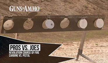 "This segment of ""Pros vs. Joes"" might be our most interesting challenge yet. Revolution Targets by Pendleton (insert hyperlink) has set up a multi-target course of fire with their Portable and Heavy steel. Guns & Ammo TV Cameraman Nathan Wilt is the ""Joe"" who will battle with Police Officer and Firearm Instructor Chris Cerino."