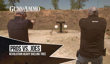 "In this segment of ""Pros vs. Joes,"" we see a Steel Challenge on a unique dueling tree from Revolution Targets by Pendleton. Jeff Murray, coordinating producer of Guns & Ammo TV, faces off against Guns & Ammo Editor Eric Poole in a classic match-up. The first shooter to make a full rotation of the target is the winner."
