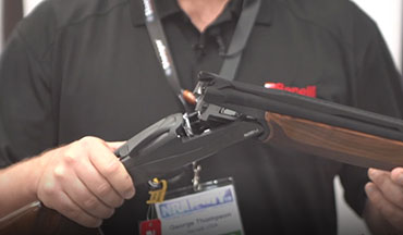 George Thompson with Benelli USA highlights the features of the Benelli 828U Sport at the 2019 NRA Show in Indianapolis.