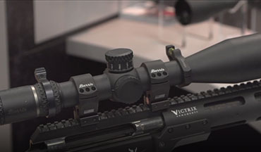 Phillip Harding of Burris Optics shows off the RT-8 and XTR III rifle scopes at the 2019 NRA Show in Indianapolis.
