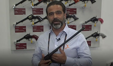 Camilo Velasquez of Heritage Manufacturing features the company's 16-inch small-bore revolver.