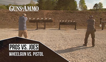 "In this segment of ""Pros vs. Joes,"" we put competitive shooter and author James Tarr against Guns & Ammo TV cameraman Nathan Wilt. With handguns, they see who can knock down plates the fastest on two Revolution Targets Heavy Duty Plate Racks."