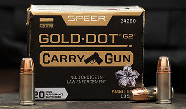 The terminal performance of Speer Gold Dot has been adjusted for compact and subcompact handguns. This new-for-2020 product features an optimized G2 bullet design.