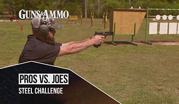 Gold Medalist Jessie Harrison puts her skills up against a handicap while facing Guns & Ammo TV Cameraman Christian Hoffman in a Steel Challenge course of fire.