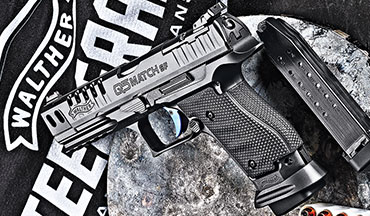 The steel frame, competition ready Walther Q5 Match SF Pro features a lightened slide, a tacky wrap-around grip, stipple-like texturing, three 17-round magazines and a flared magwell.