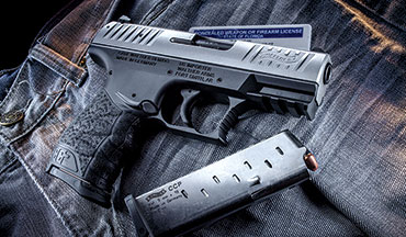 The Walther CCP is a compact, lightweight, accurate single-stack 9mm with an external safety and easy-to-work slide.