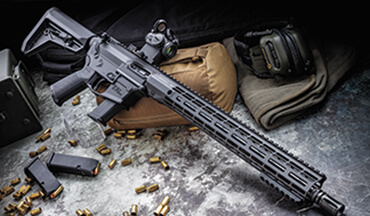 The Aero Precision EPC-9 is a direct-blowback, semiautomatic carbine chambered in 9mm. It has a 16-inch barrel, a 15-inch handguard, and accepts common Glock 9mm magazines. From the box, it weighed 6 pounds, 10 ounces, with no magazine or optic.