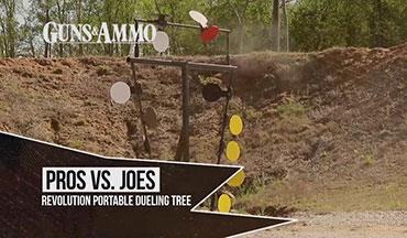 "The Revolution Targets Portable Dueling Tree makes this segment of ""Pros vs. Joes"" one of our favorites. Guns & Ammo TV Producer Darin Narlock is challenged by competitive shooter and USPSA Grand Master Jim Tarr to see who can finish the fastest."