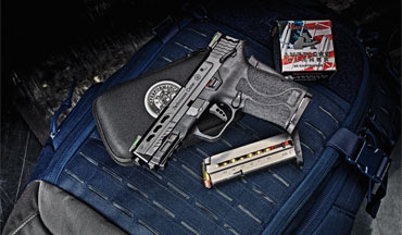 The barrel on the Performance Center version of the Smith & Wesson M&P9 Shield EZ is ported to mitigate muzzle rise. The result is a flat-­shooting pistol with easy-­to-­manage recoil control.