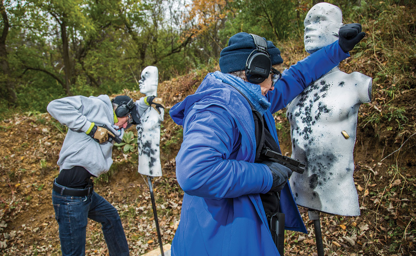 Cold weather garments present obstacles in both drawing and firing, and gloves add another potential hurdle.