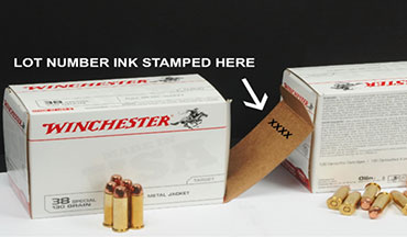 Olin Winchester, LLC is recalling three (3) lots of 38 Special 130 Grain Full Metal Jacket centerfire ammunition.