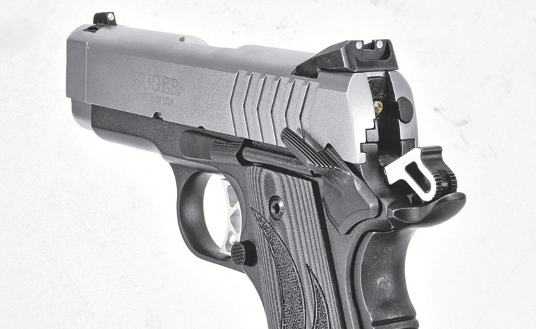 Ruger SR1911 Officer-Style features hammer and night sights