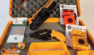 "The Smith & Wesson Model 360 Survival Kit includes an Airweight .357 Magnum revolver, first aid kit, ""parashovel"" multitool, headlamp, shelter-building advice and a lot more."