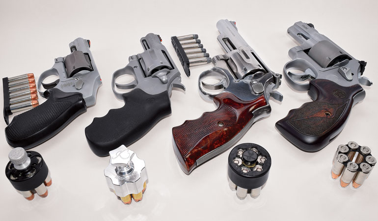 Options for reloading your revolver include single loose rounds, half- or full-moon clips, speed strips and speedloaders.