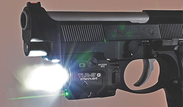 The new Streamlight TLR-8 G is a rail-mounted green-laser/light version of the popular compact TLR-8 red-laser/light.