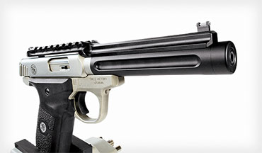 Tactical Solutions' aftermarket barrel for the Smith & Wesson Victory .22 is super- light and super-accurate. It features a Picatinny rail and is threaded. The cantilever rail incorporates fiber-optic rear and front sights.