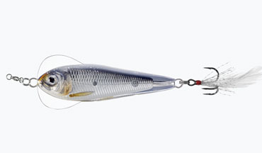 LIVETARGET's new Flutter Shad behaves like a traditional jigging spoon but has the narrow profile of a common Shad or Sardine.