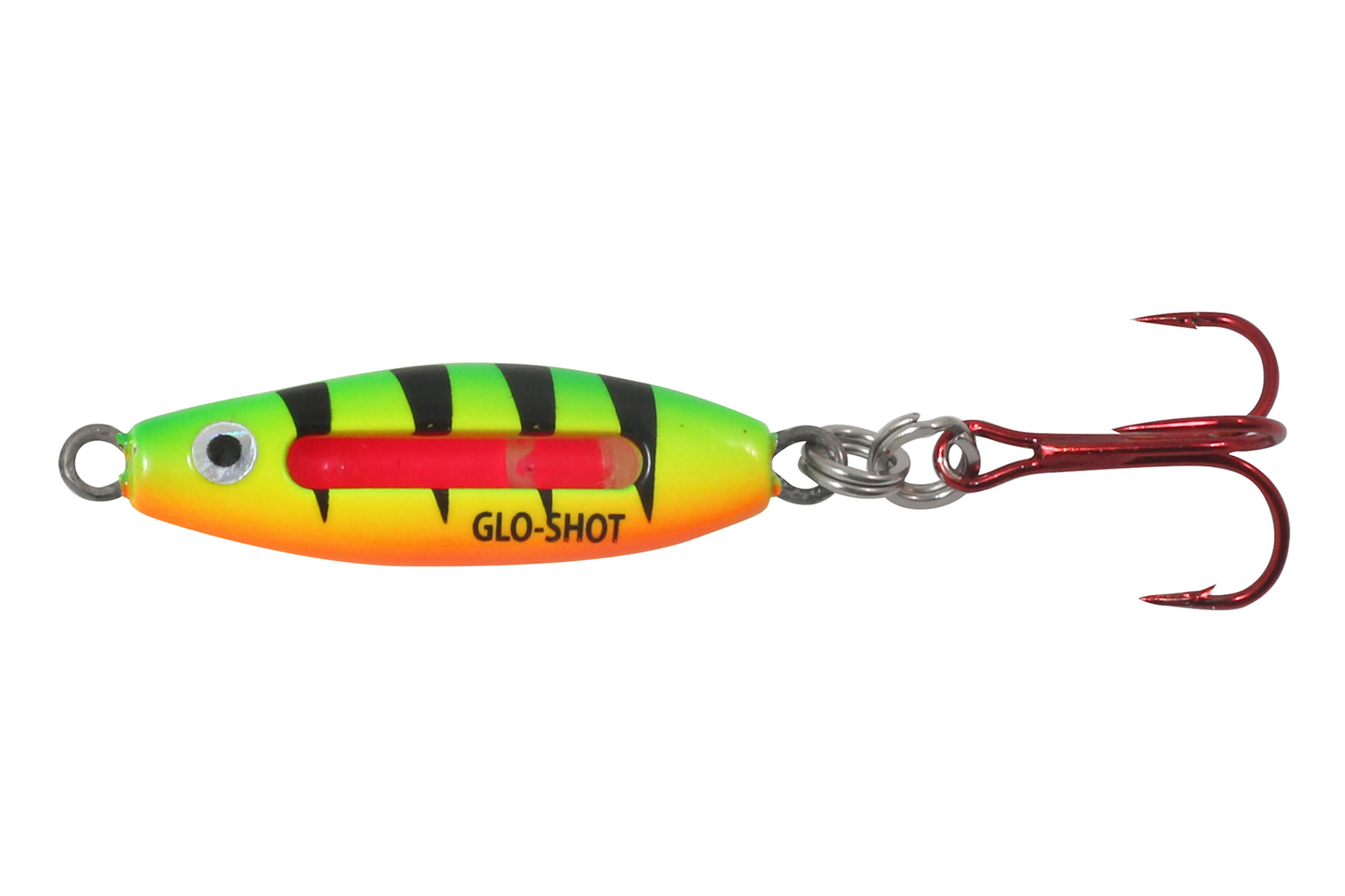 A quality spoon will catch fish beneath the ice, and the Glo-Shot fits the bill.