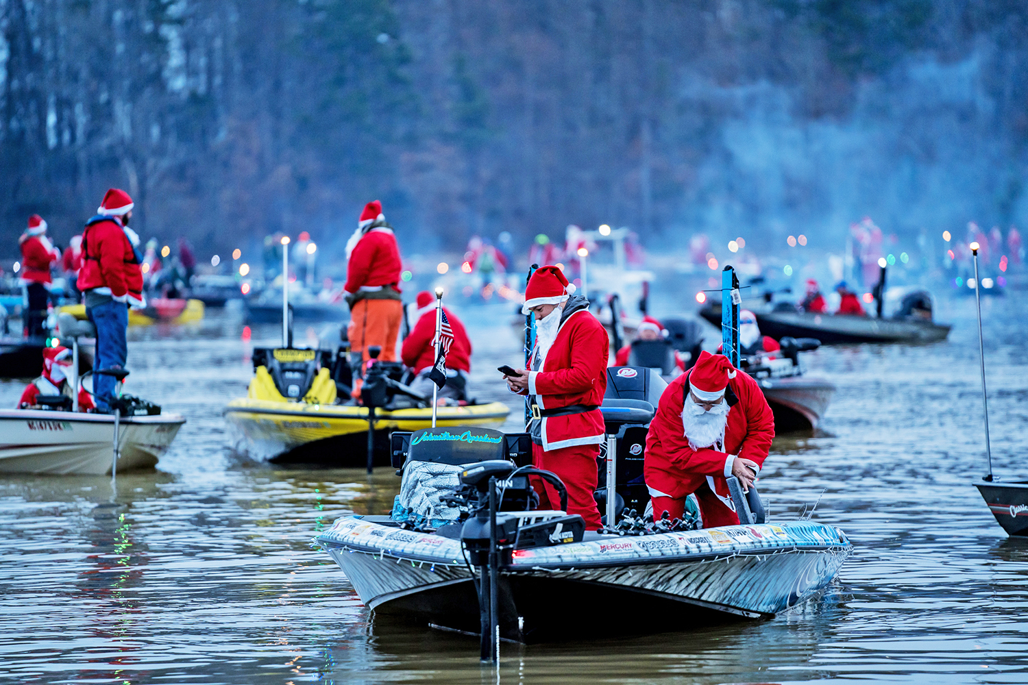 World record-setting event featured 298 Santa suit-wearing anglers fishing to make Christmas possible for children in need.