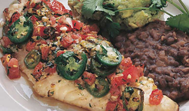 Baked Catfish With Guacamole and Refried Black Beans Recipe