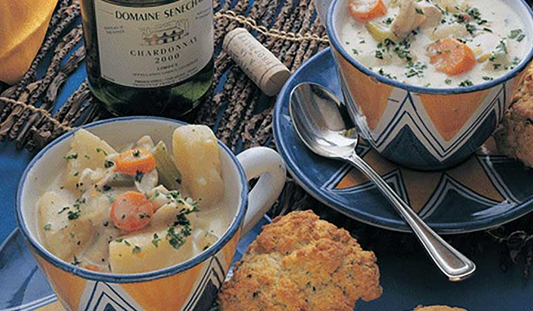 Catfish & Potato Stew with Herbed Biscuits Recipe