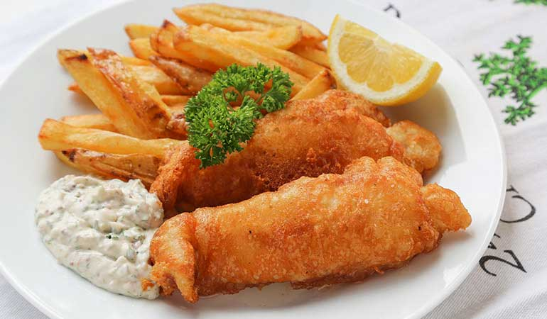 Catfish Dinner with Homemade Chips and Tartar Sauce Recipe