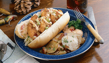 Quick and easy to prepare, this Walleye Po'Boy is the perfect end to a great day of fishing, at home or in a cabin away from home.