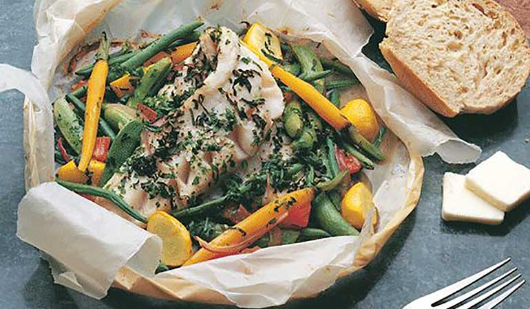 Walleye with Vegetables and Herb Butter in Parchment Recipe