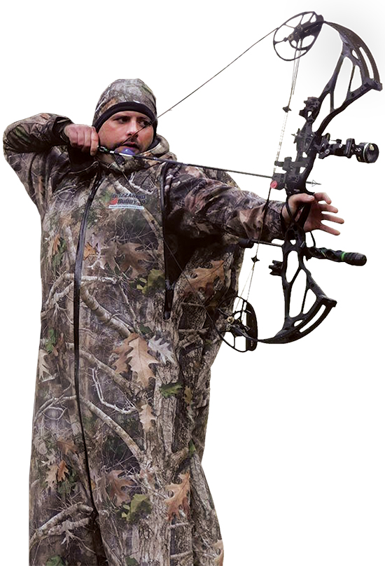 bowhunter wearing Blizzard Buddy