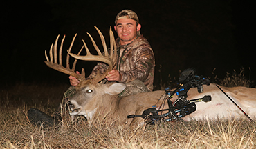Guner Womack's Oklahoma whitetail net scores in the 190s as an 8x8 typical.