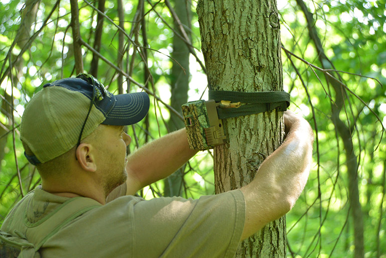 hunter hanging trail cam on tree