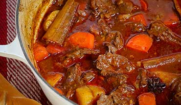 The combination of warm Asian herbs and spices, tender venison, and healthy dose of carrots and potatoes in this stew recipe is heaven.