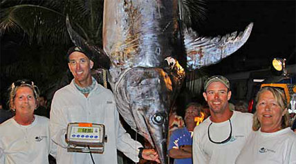A second huge swordfish is brought in by Florida Keys anglers.