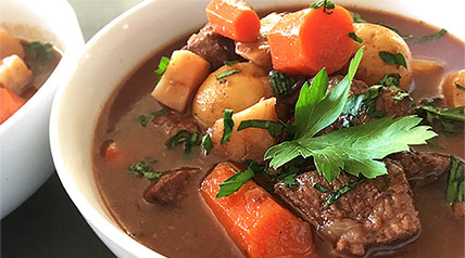 A simple and easy venison stew recipe full of hearty vegetables, red wine and tender chunks of wild game meat.