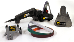 Uses flexible abrasive belts and precision sharpening guides to quickly and easily make your blades sharper than ever.