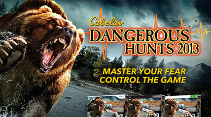 How's your heart? Cabela's Dangerous Hunts 2013 is a breathtaking new game that pits you against a range of dangerous animals. It comes with the NEW Top Shot Fearmaster controller that measures your heartbeat and stability  (Xbox 360 and PS3 only). It's multi-player too, so your buddy can watch your back.