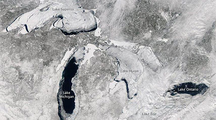 As warmer temperatures announce the arrival of spring, some of the most significant ice coverage on the Great Lakes in decades is finally beginning to diminish.