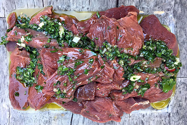 Grilled Chimichurri Elk Venison Steak Marinade