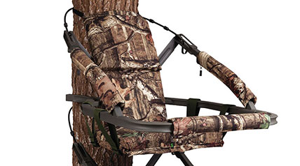 Hunting may be a one-size-fits-all sport, but big guys need a large treestand, such as the Summit Goliath SD Climber.