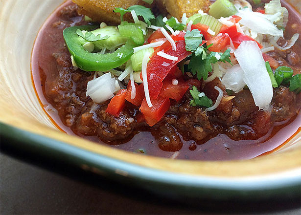 Triple Wild Game Chili Recipe in bowl
