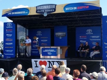 New York's Gov. Andrew Cuomo and B.A.S.S. hold a press conference on Day 1 of the Bassmaster Elite Series Evan Williams Bourbon Showdown at the St. Lawrence River in Waddington, N.Y., announcing the return of the Elite Series in 2014. Photo by Shaye Baker