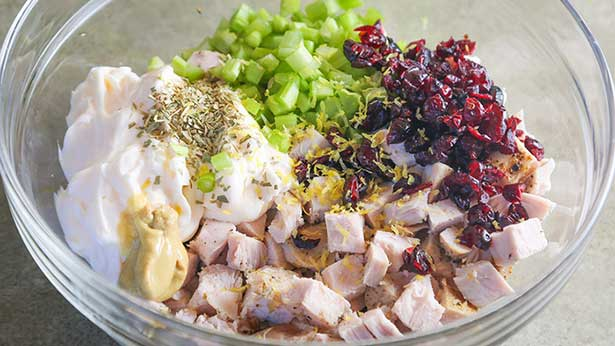 cranberry tarragon wild turkey salad recipe bowl