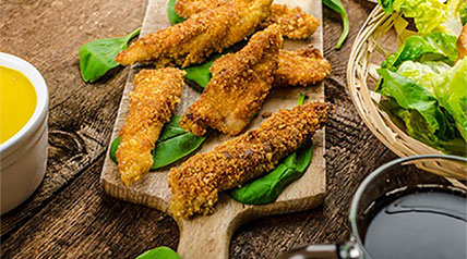 These deep-fried wild turkey fingers are best served with a side of homemade gravy.